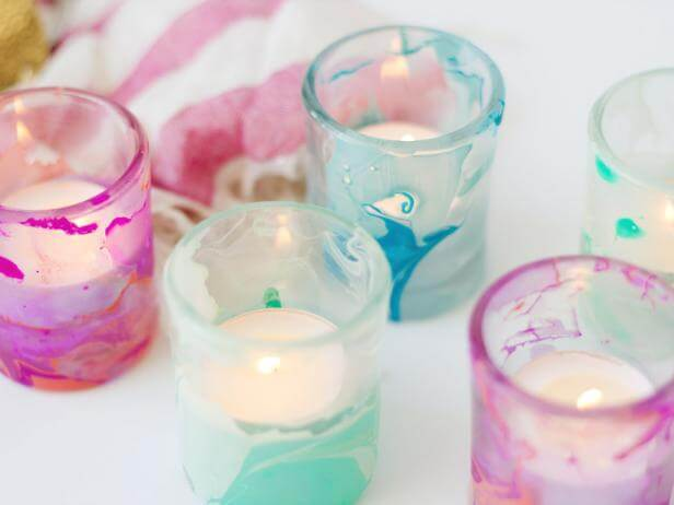 DIY Marblized Wedding Candle Holders